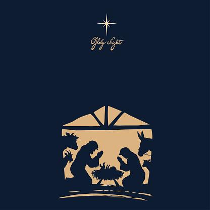 Nativity Scene. Christmas Night.
