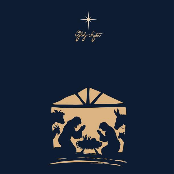 Nativity Scene. Christmas Night. vector art illustration