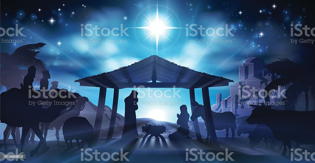 Nativity Scene Christmas vector art illustration