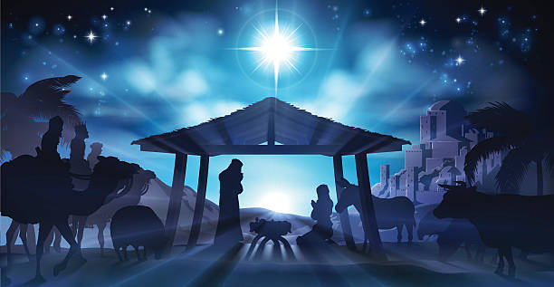 Nativity Scene Christmas Christian Christmas Nativity Scene of baby Jesus in the manger with Mary and Joseph in silhouette surrounded by animals and the three wise men magi with the city of Bethlehem in the distance nativity silhouette stock illustrations