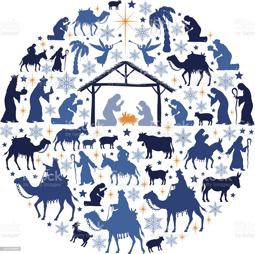 Nativity Scene Collage vector art illustration