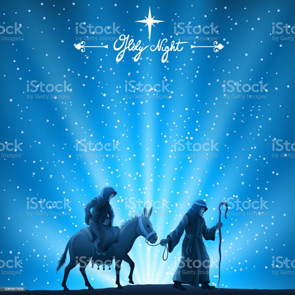 Nativity Scene - Holy Night vector art illustration