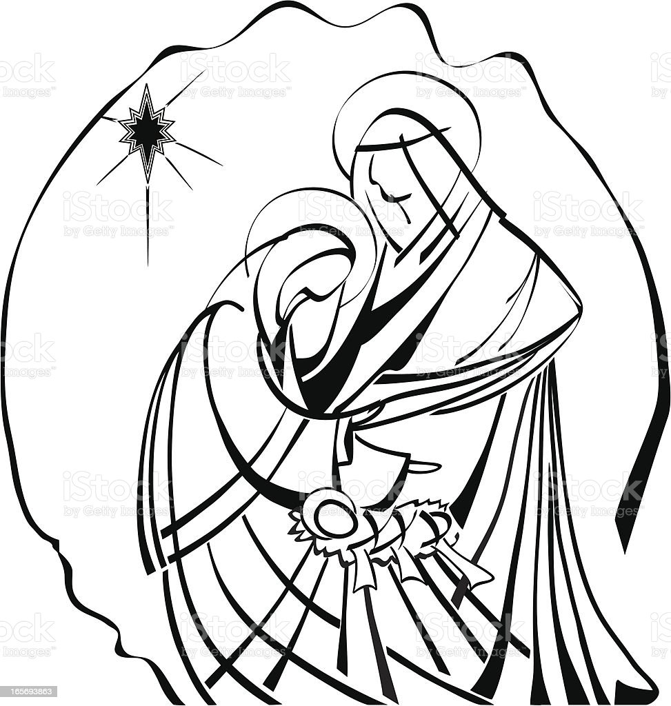 Line Art Nativity : Nativity scene line work illustration baby jesus joseph