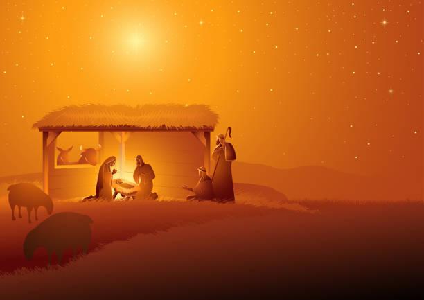 ilustrações de stock, clip art, desenhos animados e ícones de nativity scene of the holy family in stable - jesus cristo