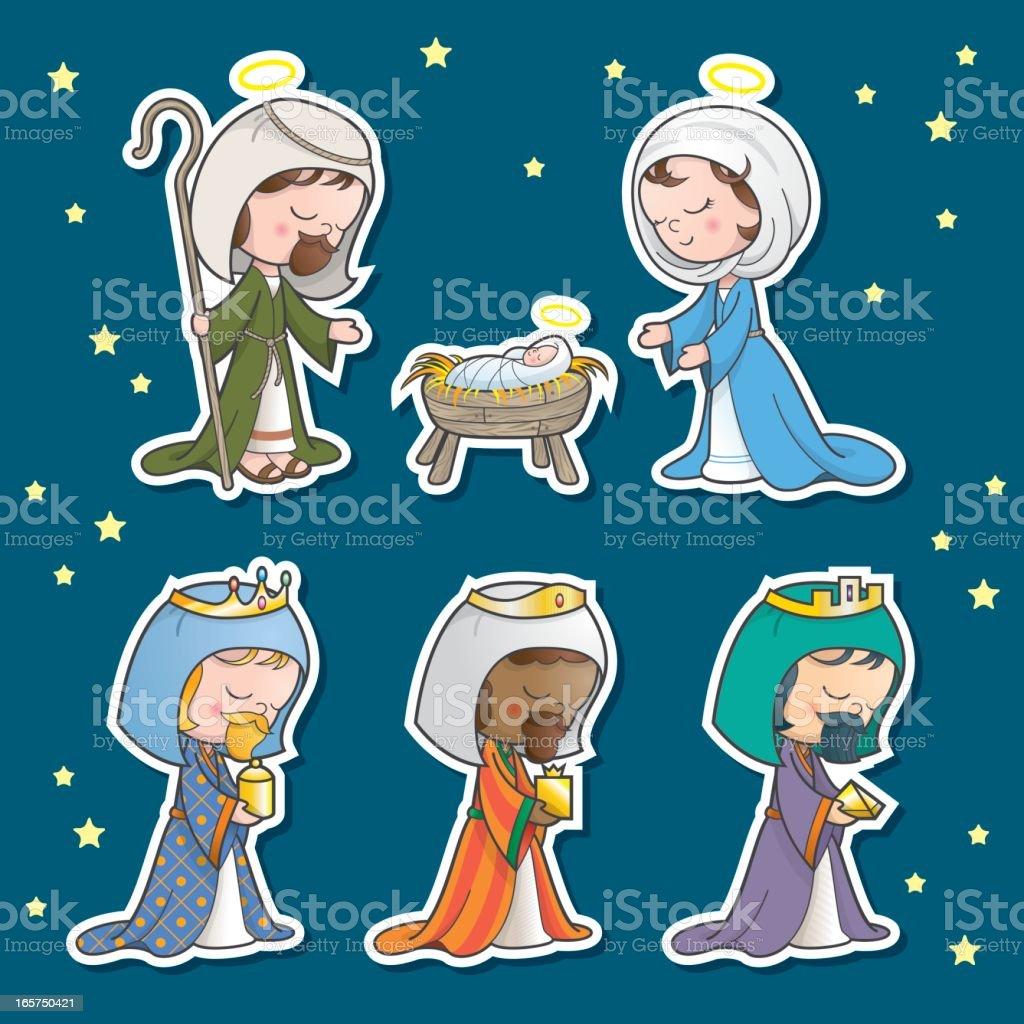 Nativity scene set royalty-free stock vector art
