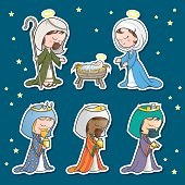 Set of characters, Jospeh, mother Mary, baby Jesus, and the three kings.