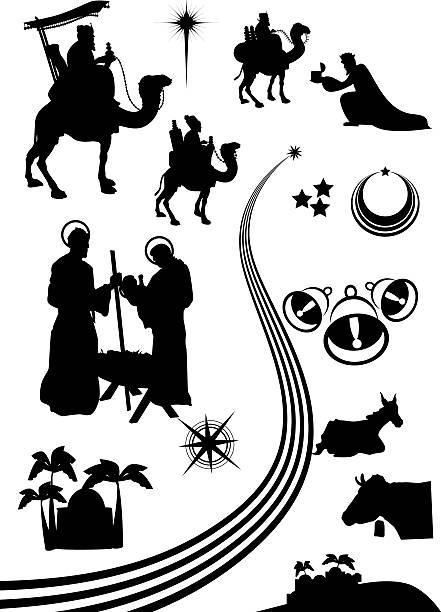 nativity scene set nativity scene icon or shape set. nativity silhouette stock illustrations