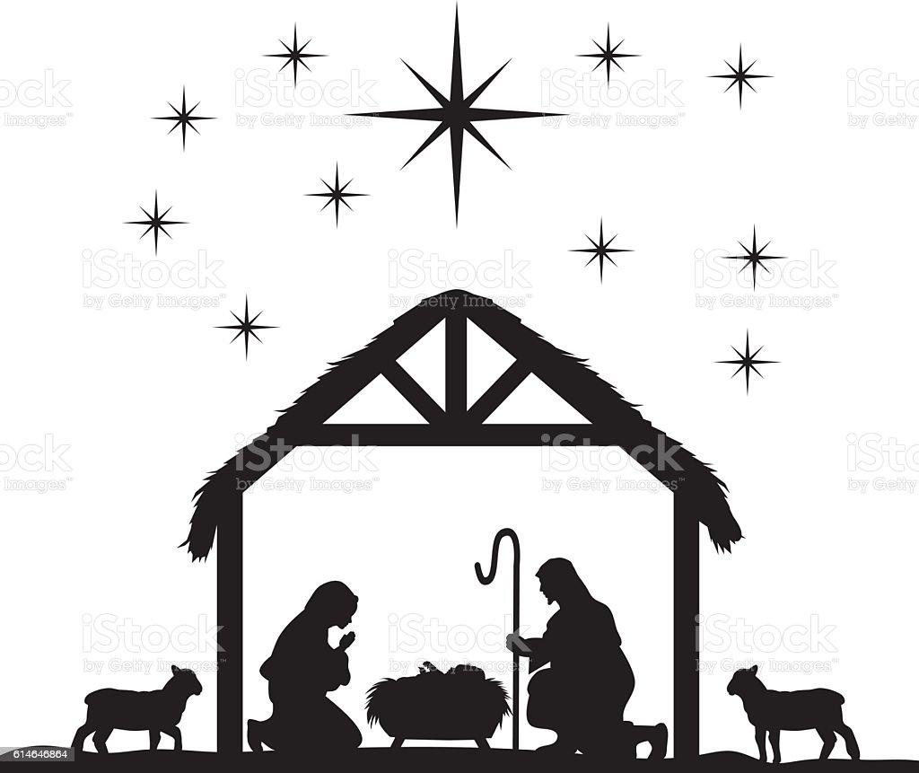 royalty free nativity scene clip art vector images illustrations rh istockphoto com black and white manger scene clipart Black and White Cross Clip Art