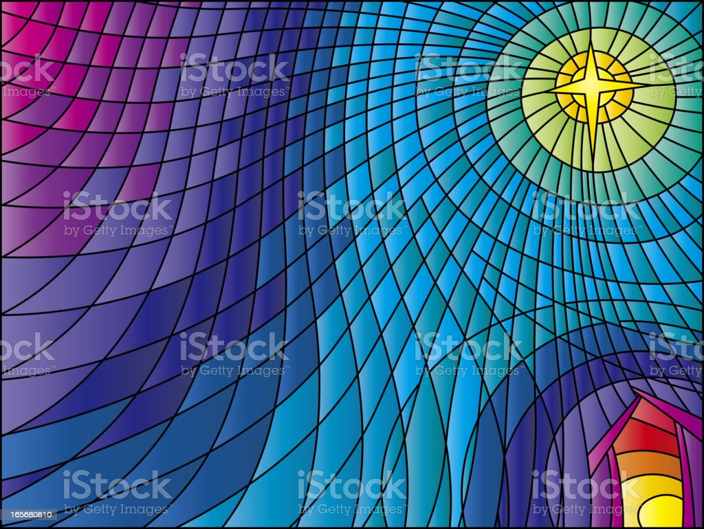 Nativity Scene Stained Glass vector art illustration