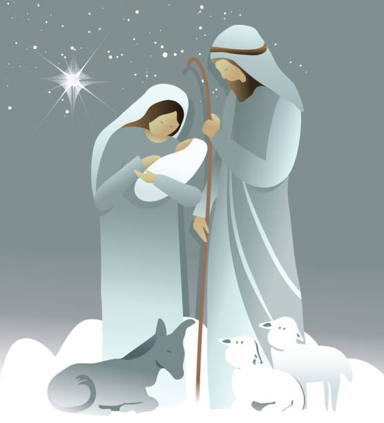Nativity scene with Holy Family Christmas background with Holy Family trough stock illustrations