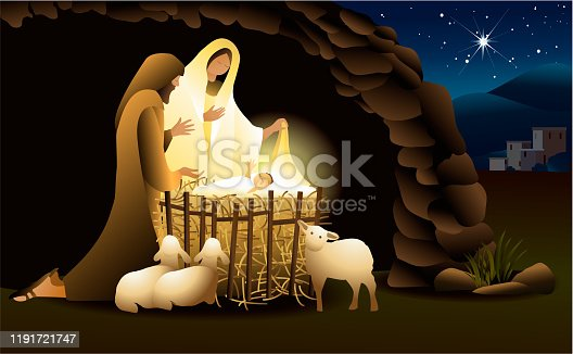 istock Nativity scene with Holy Family 1191721747