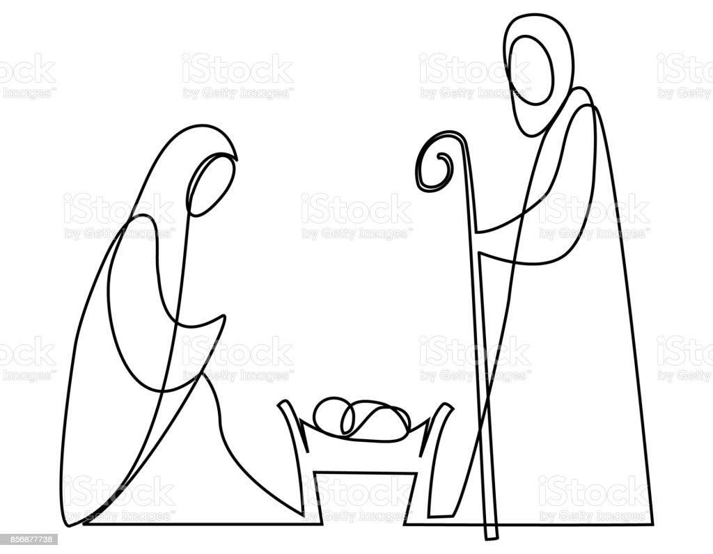 Ilustración de Pesebre Con La Sagrada Familia y más banco ...