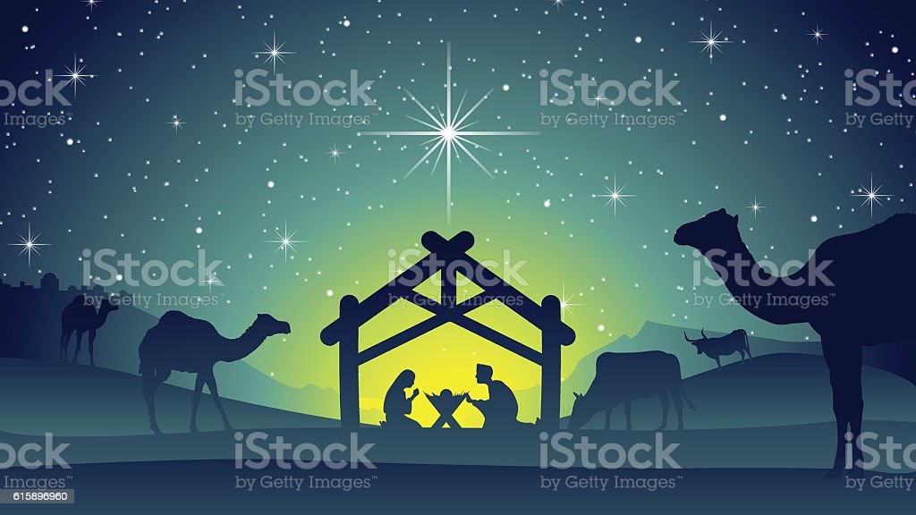 Nativity Scene with Jesus, Mary and Joseph vector art illustration