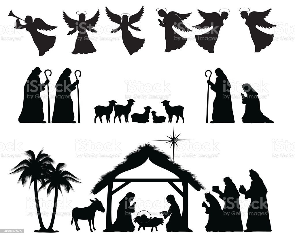 Nativity Silhouette vector art illustration
