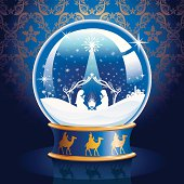 Nativity Snow Globe with the Three Wise Men on the base of the globe. Layered File.