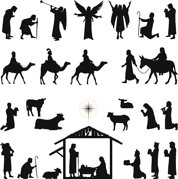 Nativity Nativity scene silhouettes. Files included – jpg, ai (version 8 and CS3), svg, and eps (version 8) nativity silhouette stock illustrations