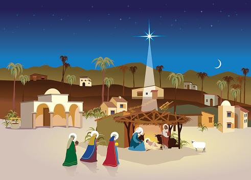 nativity village - christmas scene and magi