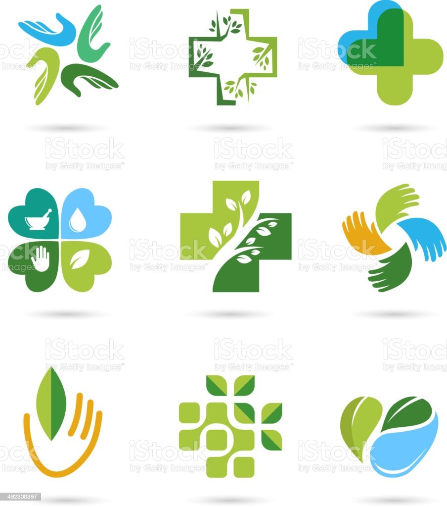 Natural Alternative Herbal Medicine icons vector art illustration