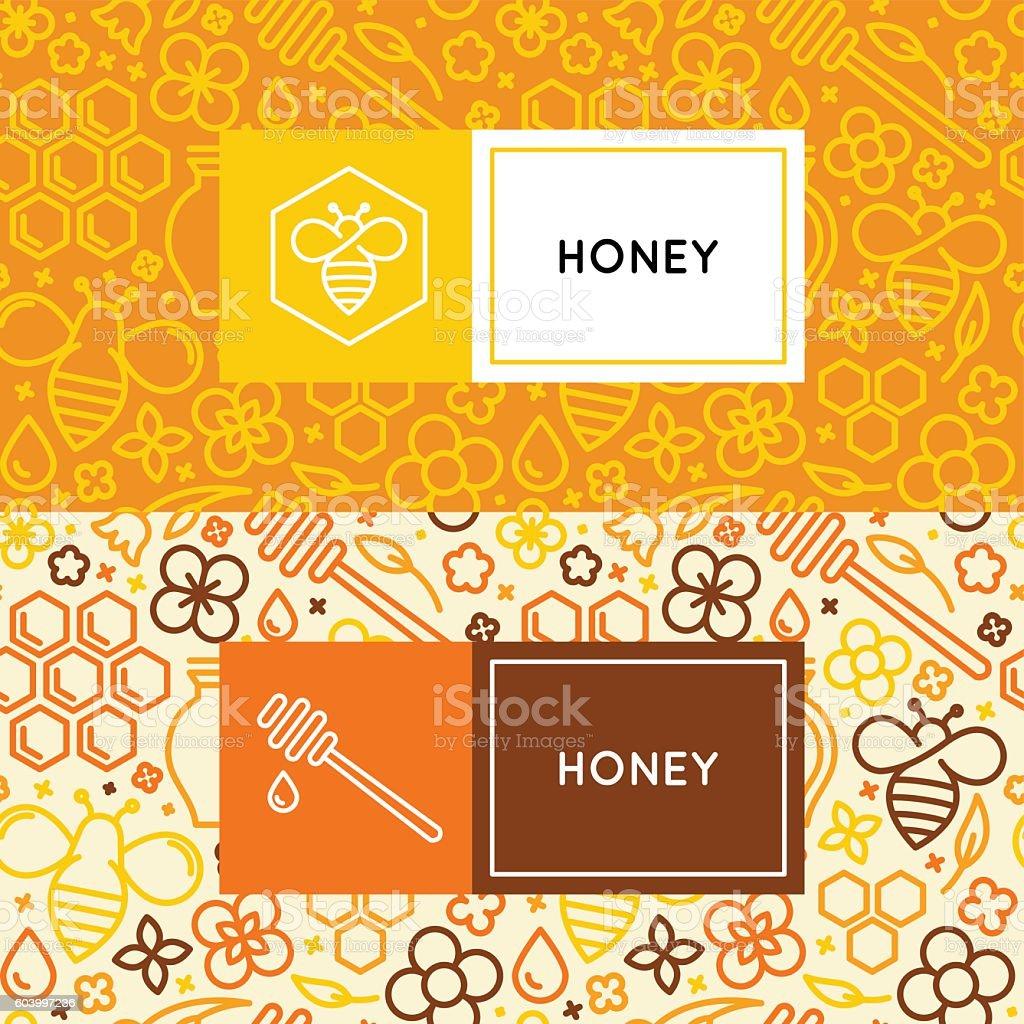 Natural and farm honey packaging vector art illustration