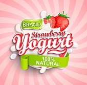 Natural and fresh strawberry Yogurt label splash on sunburst background for your brand, template, label, emblem for groceries, agriculture stores, packaging and advertising. Vector illustration.