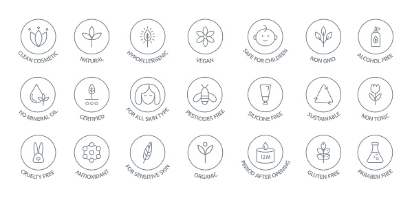 Natural and organic cosmetic line icons big set. GMO free emblems. Organic products badges. Hypoallergenic, safe for children, clean cosmetic, non toxic. Vegan, bio food. Vector illustration