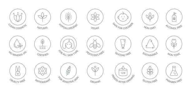 Natural and organic cosmetic line icons big set. GMO free emblems. Organic products badges. Hypoallergenic, safe for children, clean cosmetic, non toxic. Vegan, bio food. Vector illustration Natural and organic cosmetic line icons big set. GMO free emblems. Organic products badges. Hypoallergenic, safe for children, clean cosmetic, non toxic. Vegan, bio food. Vector illustration. genetic modification stock illustrations
