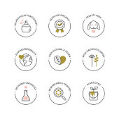 Natural and organic skincare product icons