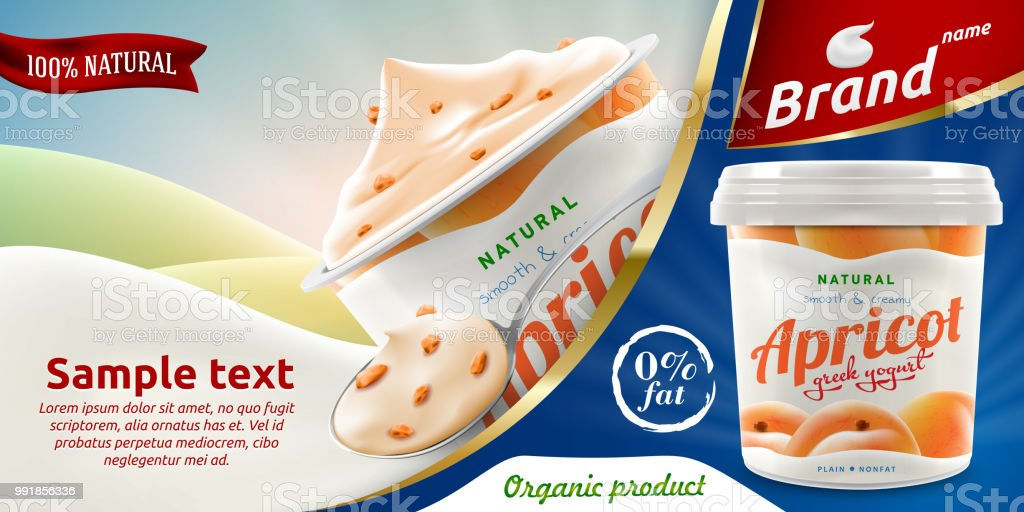 natural apricot greek yogurt ads flyer with spoon of yoghurt or cream and packaging container royalty