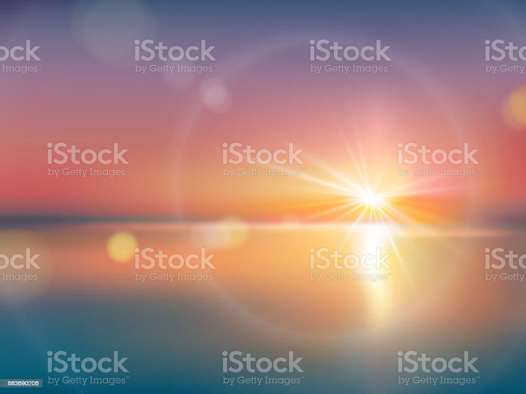 レンズのフレアで、明るい日光の下で自然な背景 ベクターアートイラスト