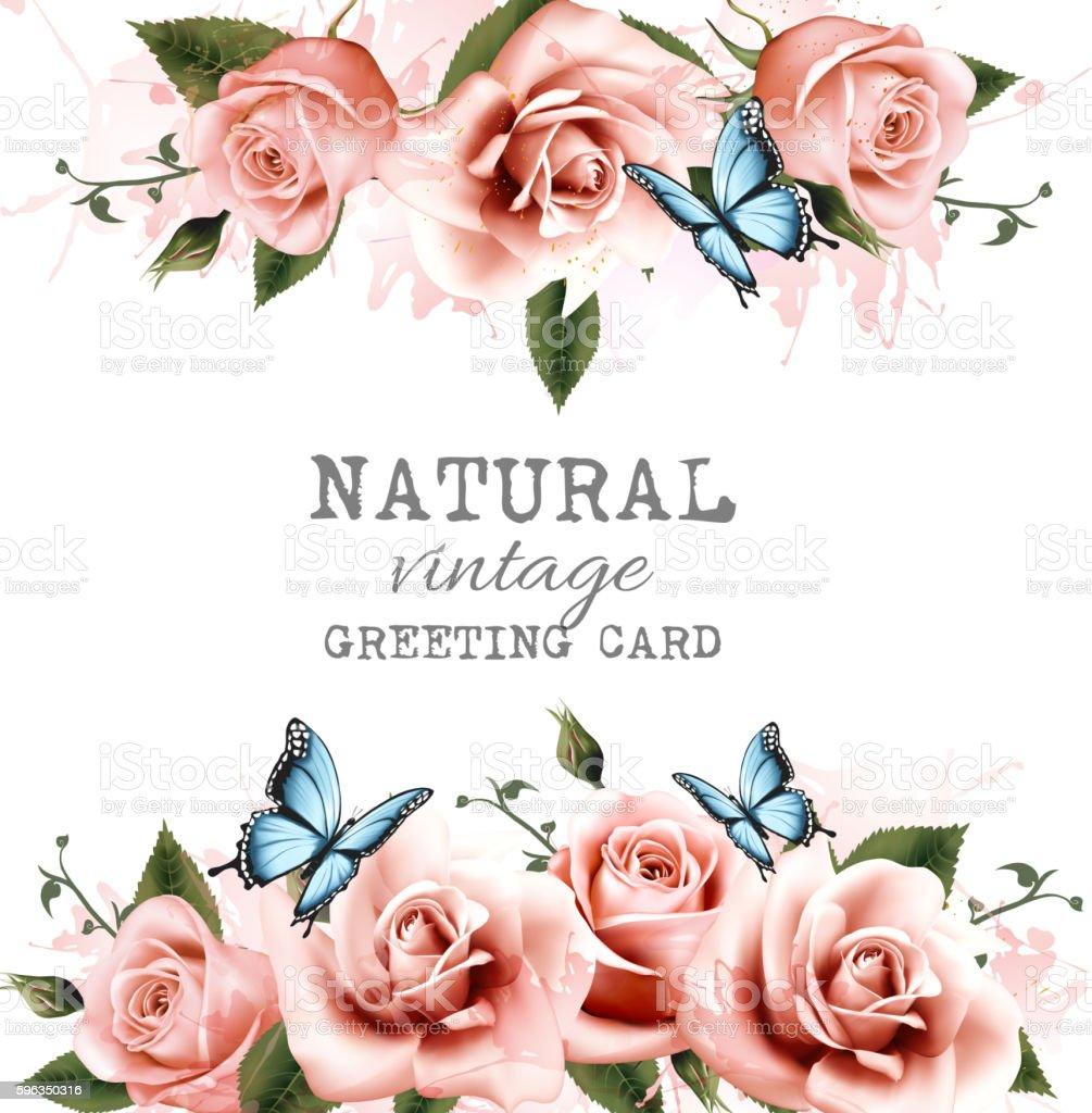 Natural background with roses. Vintage vector. Lizenzfreies natural background with roses vintage vector stock vektor art und mehr bilder von abstrakt