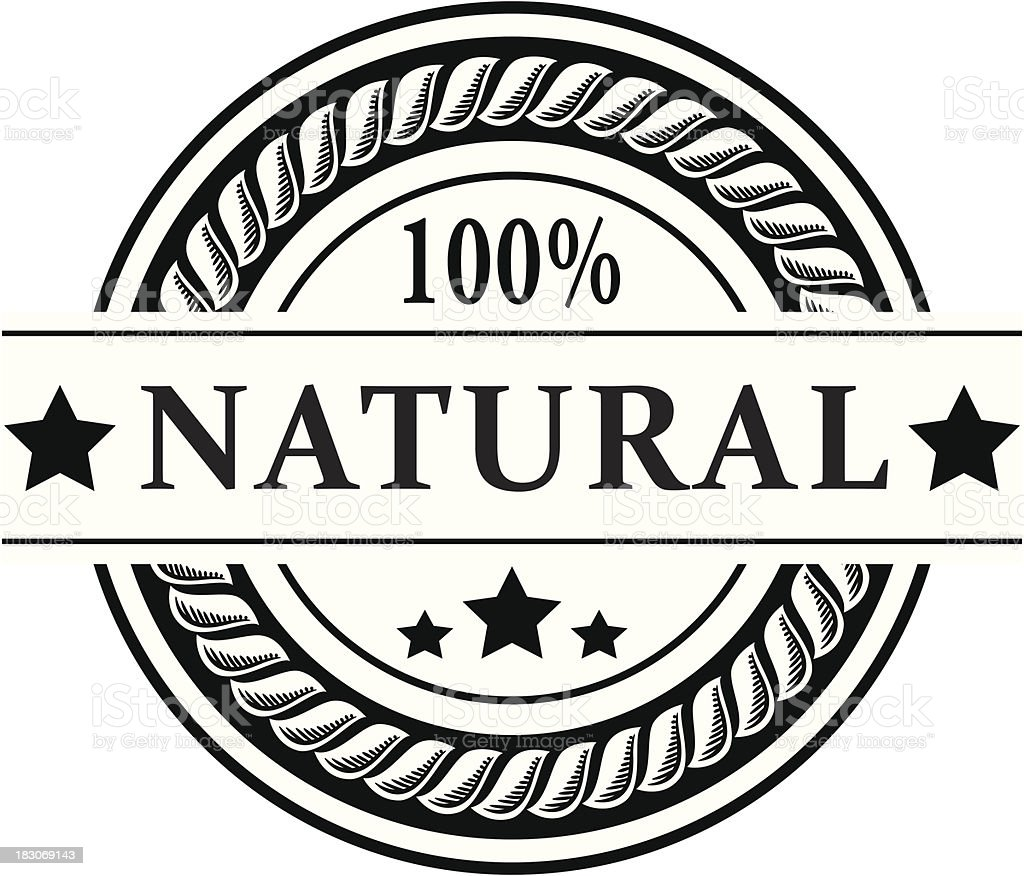 100% natural badge - VECTOR vector art illustration
