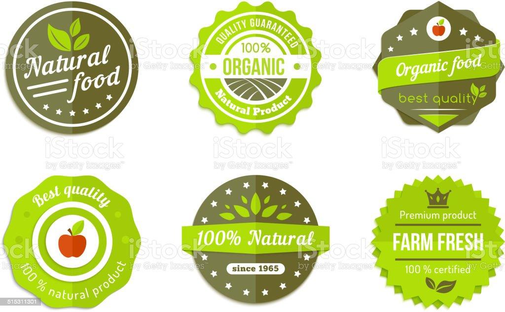 natural badges vector art illustration