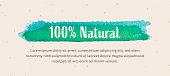 100% Natural Banner Design on Craft Ivory Paper