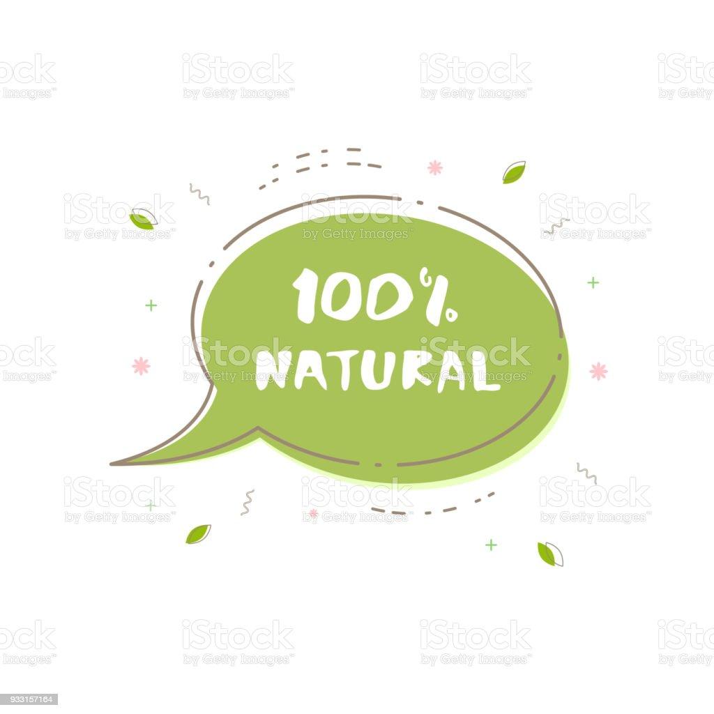 100% Natural banner. Vector illustration. vector art illustration
