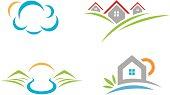 Natural beauty landscape logo social community and village life