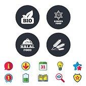 Natural Bio food icons. Halal and Kosher signs.