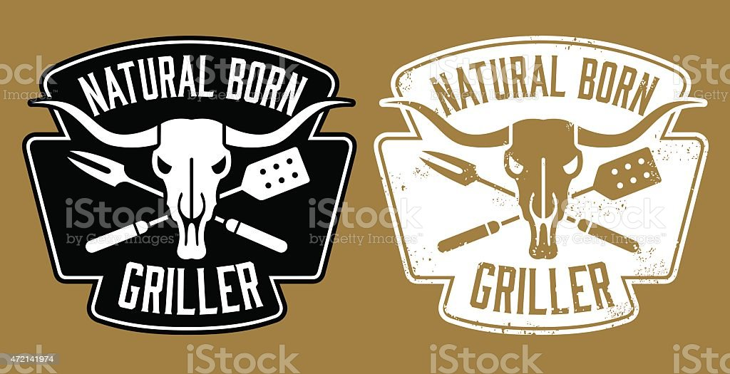 Natural Born Griller barbecue vector image with cow skull vector art illustration