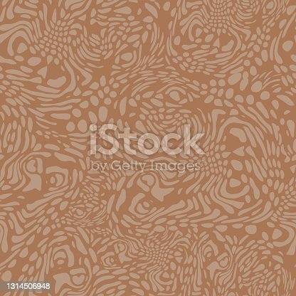 istock Natural camouflage. Free-form organic shapes. Stylish structure of natural spots. Vector seamless pattern. 1314506948