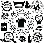 Vector design elements of natural and organic cleaning products good for the environment.