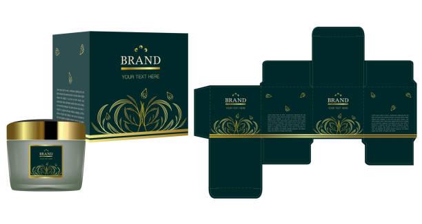 natürlichen konzept verpackungsdesign, etikett auf kosmetik-container mit luxus box design vorlage und mock-up-box. abbildung vektor. - stanzen stock-grafiken, -clipart, -cartoons und -symbole