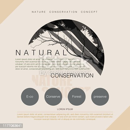 Natural conservation concept, forest preserve poster design, vector illustration