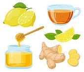 Natural cough remedies. Honey, vitamin c lemon, hot tea and chopped ginger root cartoon vector illustration set. Natural medicine remedies. Lemon and ginger, healthy tea and natural honey