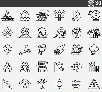 Natural Disaster , disease , flood  Line Icons