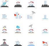 Natural Disaster flat Icon Set