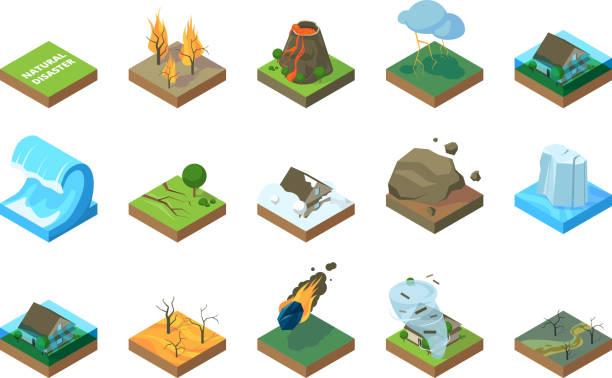 illustrations, cliparts, dessins animés et icônes de catstrophe naturelle. environnement mondial du changement climatique tremblement de terre tempête tsunami wildfire dans la forêt inondations vecteur images isométriques - desastre natural