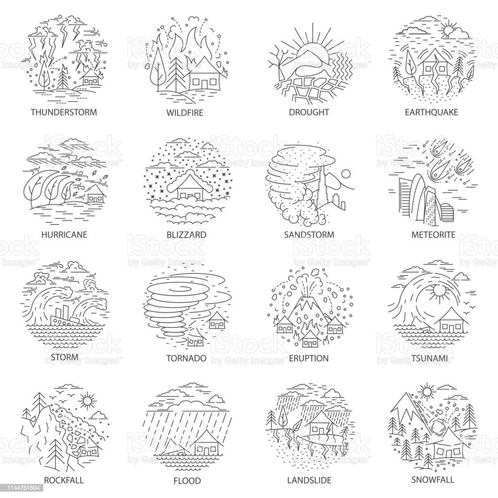 Big natural disaster icons collection in linear style. Set of...
