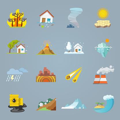 natural disaster icons flat