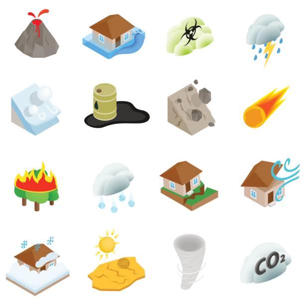 illustrations, cliparts, dessins animés et icônes de ensemble d'icônes de catastrophe naturelle, style 3d isométrique - desastre natural