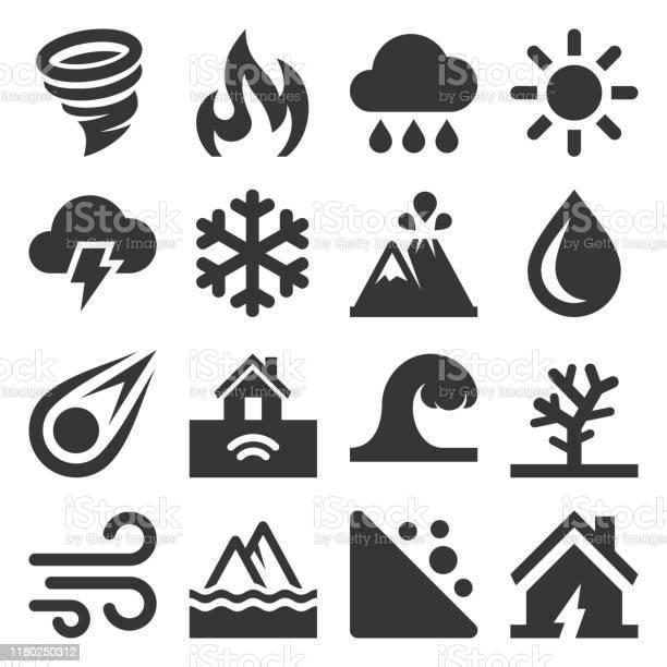 Natuurrampen Iconen Ingesteld Op Witte Achtergrond Vector Stockvectorkunst en meer beelden van Aardbeving