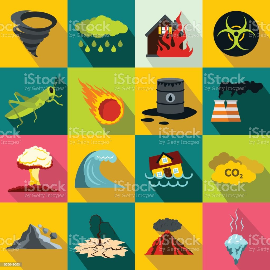 Natural disaster icons set vector art illustration